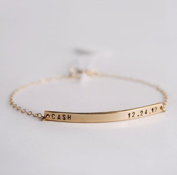 Skinny bar bracelet - Personalized nameplate bracelet  with tiny font - Initial bracelet - 14k gold fill