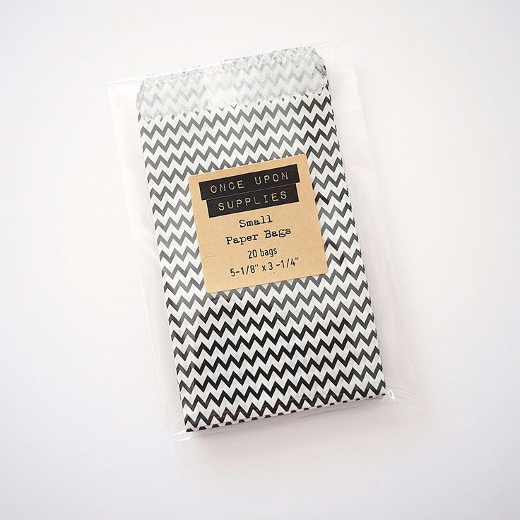 Small Black and White Chevron Zig Zag Stripes Favor Bags