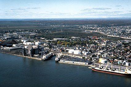 Vue aérienne de Trois-Rivières