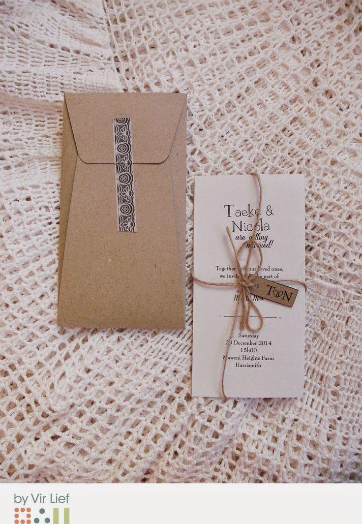 Vintage farm wedding inspired invitation and envelope by Vir Lief.
