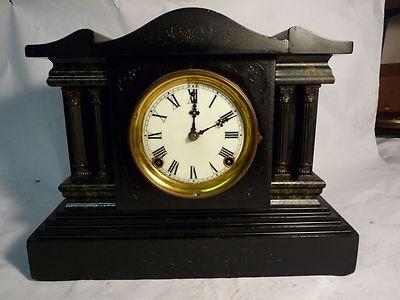 Antique 1900′s Sessions Black Mantel Clock Green Marbelized Gothic #antiquemantelclock