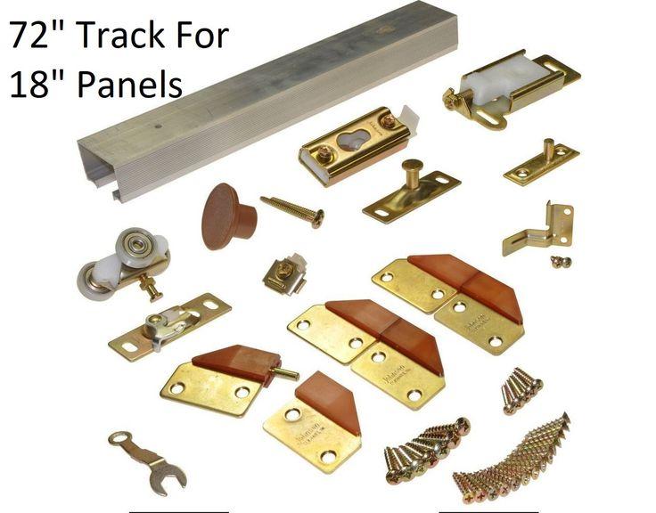"""Bifold Door Hardware - 4 Doors - 72"""" Inch Track for 18"""" Inch Panels - Brass"""