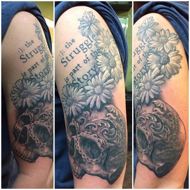 Mental Health Awareness Flower Sugar Skull Tattoo