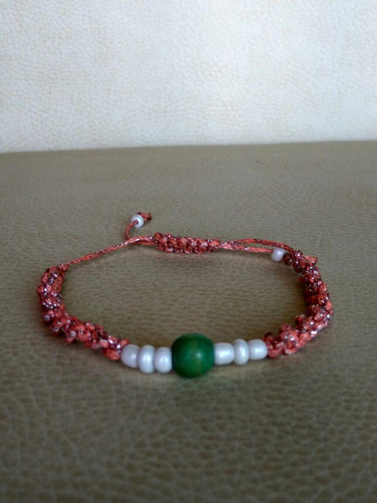 Pink with silver macrame bracelet