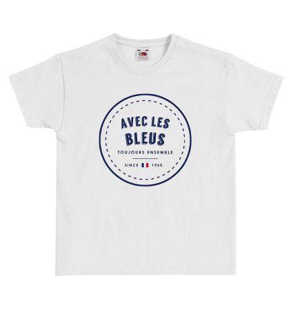 """T-shirt Enfant FRUIT OF THE LOOM Blanc - T-shirt """"Avec les Bleus"""" #euro2016 #football #foot #allezlesbleus #tshirtpersonnalisé #comboutique"""