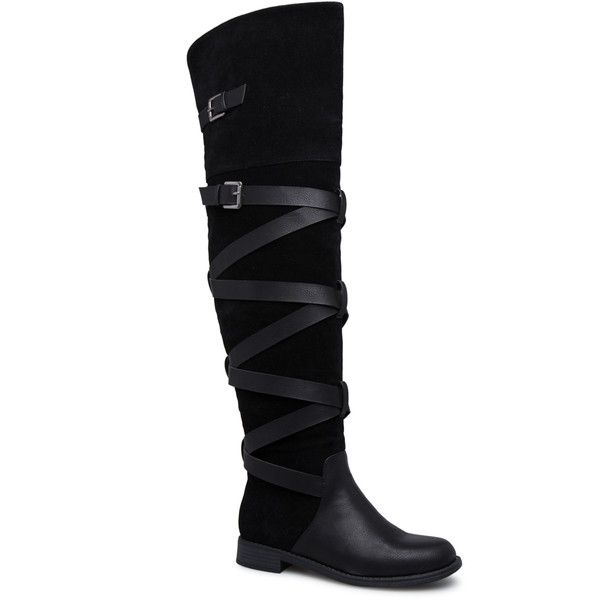 ShoeDazzle Boots - Over The Knee Dorinda Wraparound Flat Boot Womens... ❤ liked on Polyvore featuring shoes, boots, black, boots - over the knee, above-knee boots, strap boots, over-the-knee flat boots, thigh high boots and wrap boots