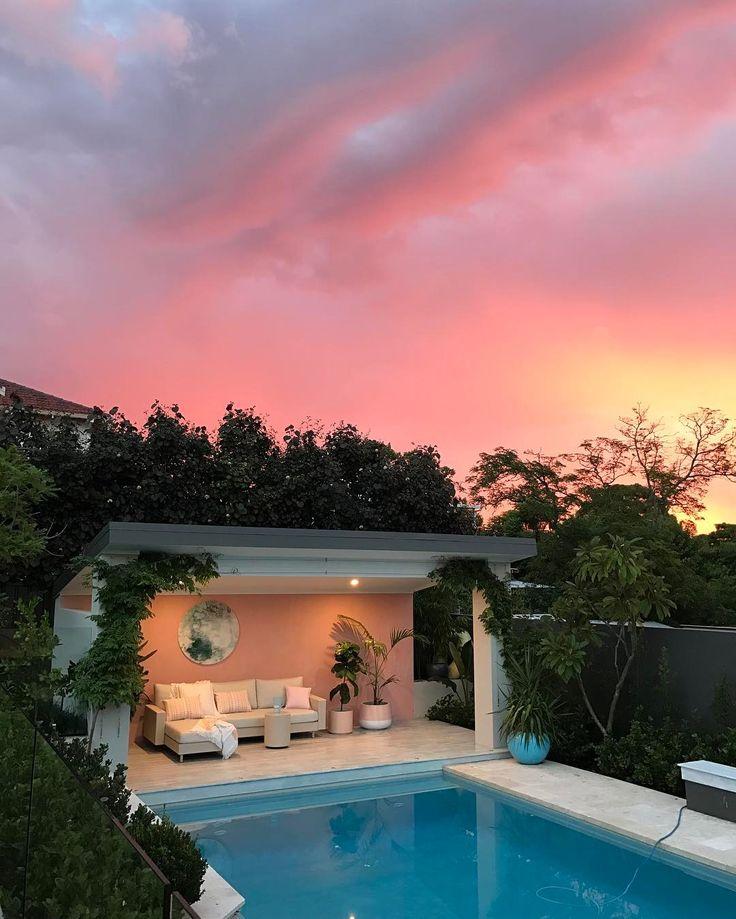 "1,510 Likes, 133 Comments - Jen Farr (@designdevotee) on Instagram: ""Perth sunset tonight #nofilter #weekend #sunset #pink #pinkskies #backyard #garden #pool…"""