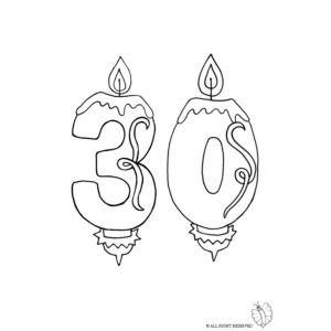Disegno di Trenta Anni Candeline Compleanno da colorare