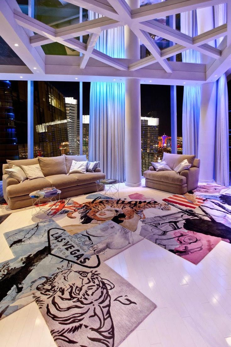 penthouse club design home nightclub Chemical Spaces, modern art rug  http://www.justleds.co.za