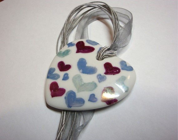 Hearts for Valentine OOAK ceramic pendent by ile1974 on Etsy, €23.00