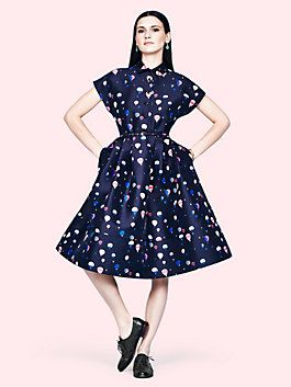 balloon fit and flare shirtdress, dark rich navy multi kate spade