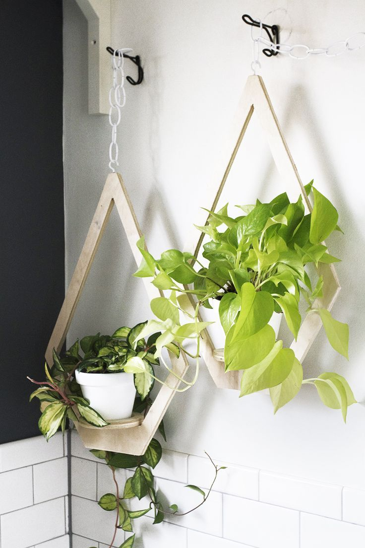 DIY Diamond Plywood Hanging Planter