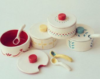 Set of 3 - Heirloom SALT & SPICE CROCKS - Kitchen, Ceramic, Charming, Nordic, Ethnic, Scandinavian, Tableware, Scoop, Container, Jar, Bin
