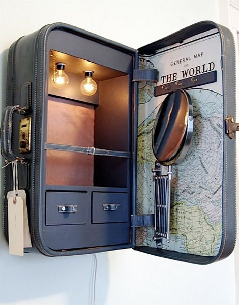 DIY Suitcase-turned-medicine chest. Love the addition of lights and mirror, plus the little drawers. | Tiny Homes