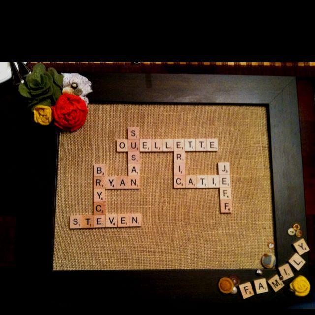 Christmas present for boyfriends parents!640 640 Pixel, Homemade Christmas Gifts, Boyfriends Parents, Christmas Presents, Gift Ideas, Cute Ideas, Diy Gifts, Christmas Ideas, Scrabble Letters