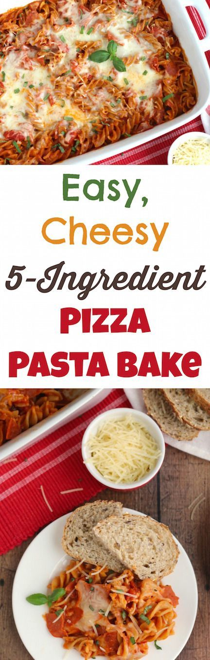 This Easy, Cheesy 5-Ingredient Pizza Pasta Bake is an absolute lifesaver on busy nights! You can mix it up right in the pan, and you don't even boil the pasta! So cheesy and full of great pizza flavors! Your whole family will love it! ~ from Two Healthy Kitchens at www.TwoHealthyKitchens.com