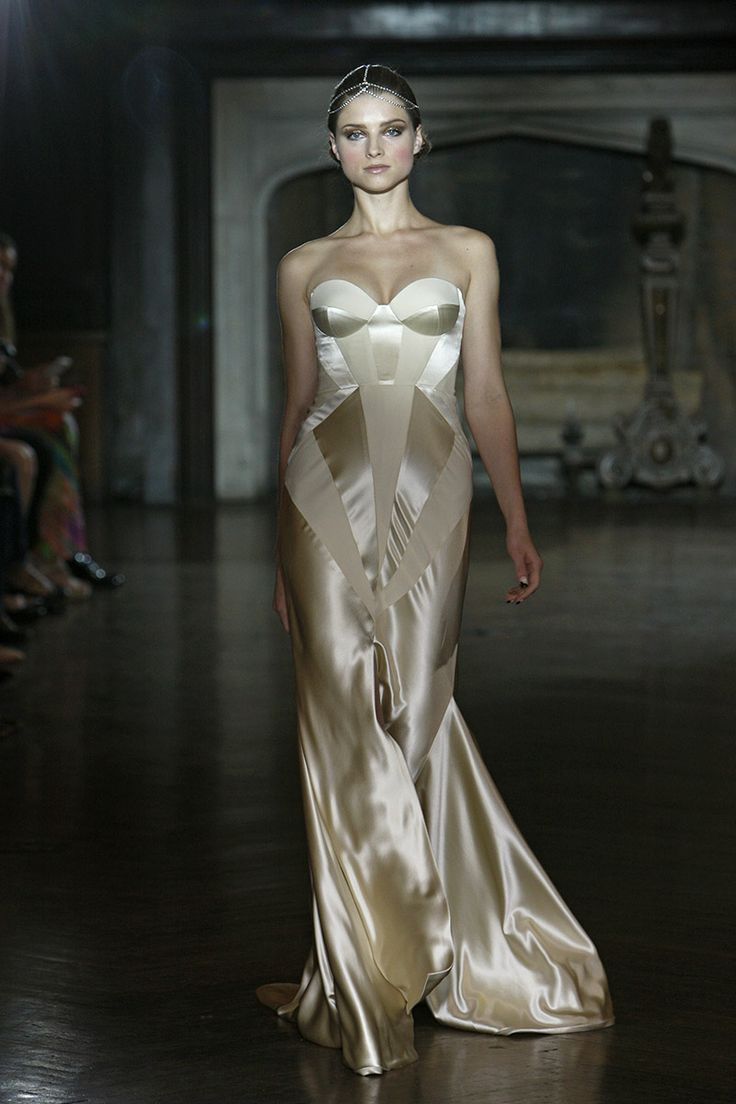 Trending Champagne silk fit and flare bridal gown with contemporary seam pattern by Johanna Johnson photo Dan Lecca