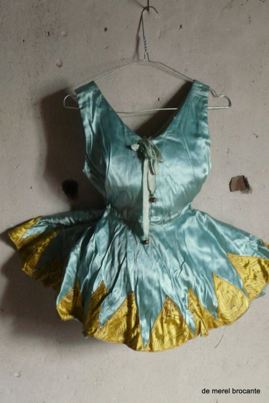 vintage antique satin harlequin dance costume