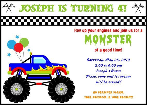 Declarative image within monster truck birthday invitations free printable