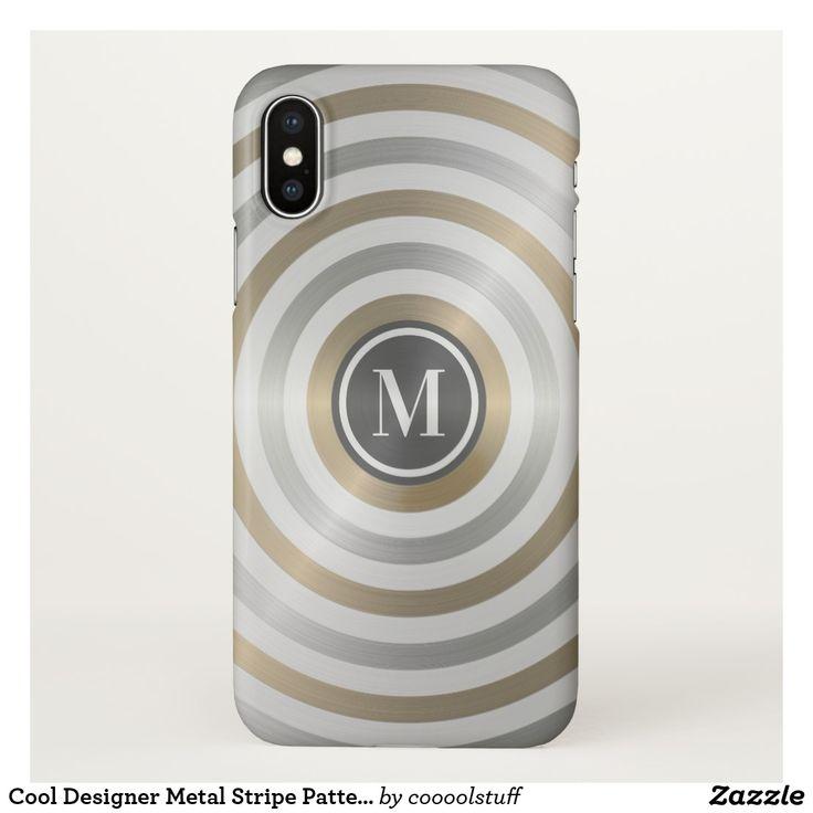 Cool Designer Metal Stripe Pattern Grey Monogram iPhone X Case