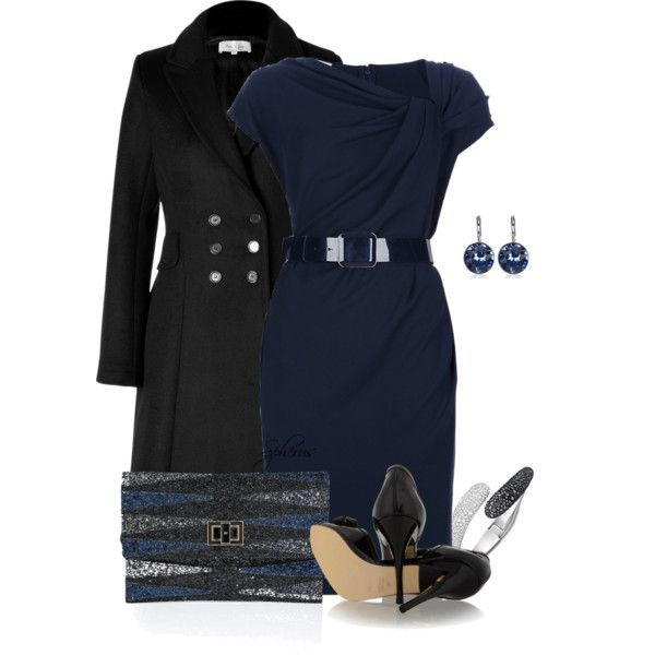 Looking classy in black and navy.  Dress by ARMANI COLLEZIONI: Draped Belted Dress, black wool coat.