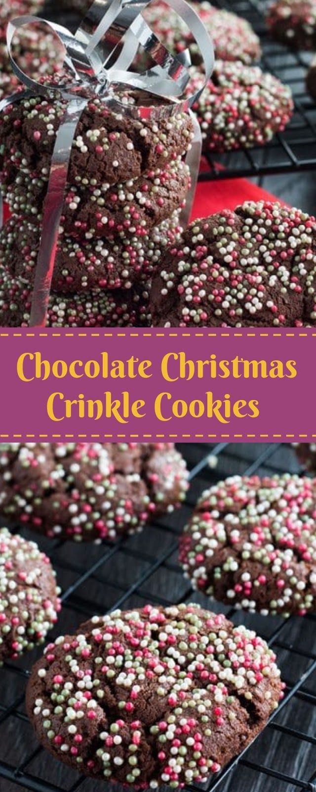 Chocolate Christmas Crinkle Cookies Christmas Cookies Velia