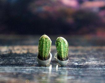cactus earrings , cactus post earrings , cactus stud earrings , tiny cactus earrings