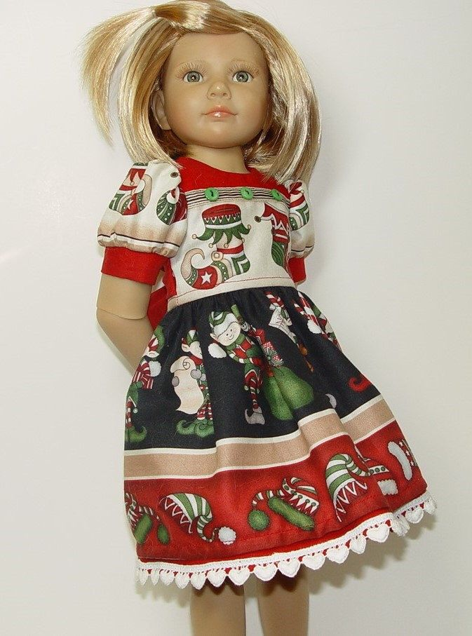 Christmas Print Dress for Kidz n' Cats, Classic Kidz by Gotz and Other Large Slim Dolls by GrammysCupboard on Etsy https://www.etsy.com/listing/255297531/christmas-print-dress-for-kidz-n-cats