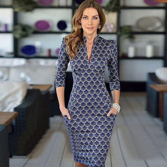 2015 nova moda vestido desgaste meia manga pescoço elegante escritório vestido com bolsos de alta qualidade do vestido