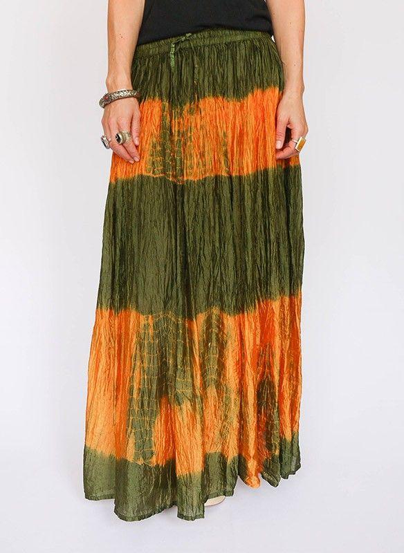 Vintage Indiase tie dye maxi rok @ www.secondhandnew.nl