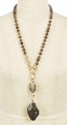 Love Smoky Quartz! Chunky Beaded Smoky Quartz Stone Long Necklace #Black #Quartz  #Fall #Fashion #Necklace #Semiprecious #Jewelry #Accessories