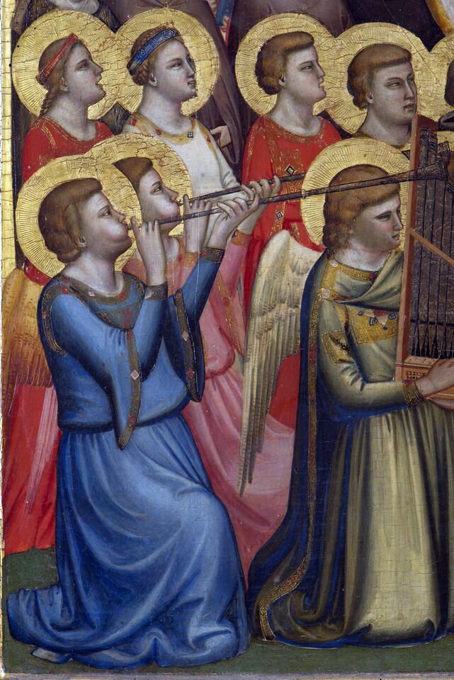 Giotto. Polyptych Baroncelli, Angel musicians, detail, 1330 ca.