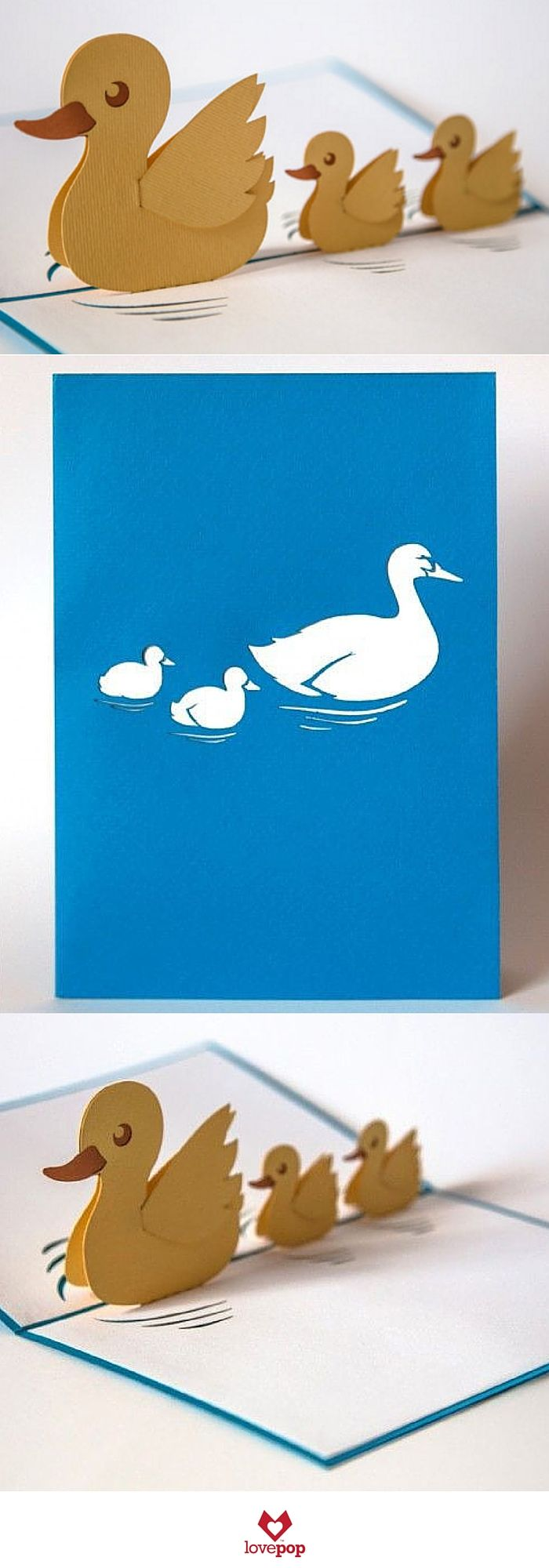 Adorable Ducks all in a row pop up out of this paper art card. Surprise new mom's with this pop up card. #babyshower