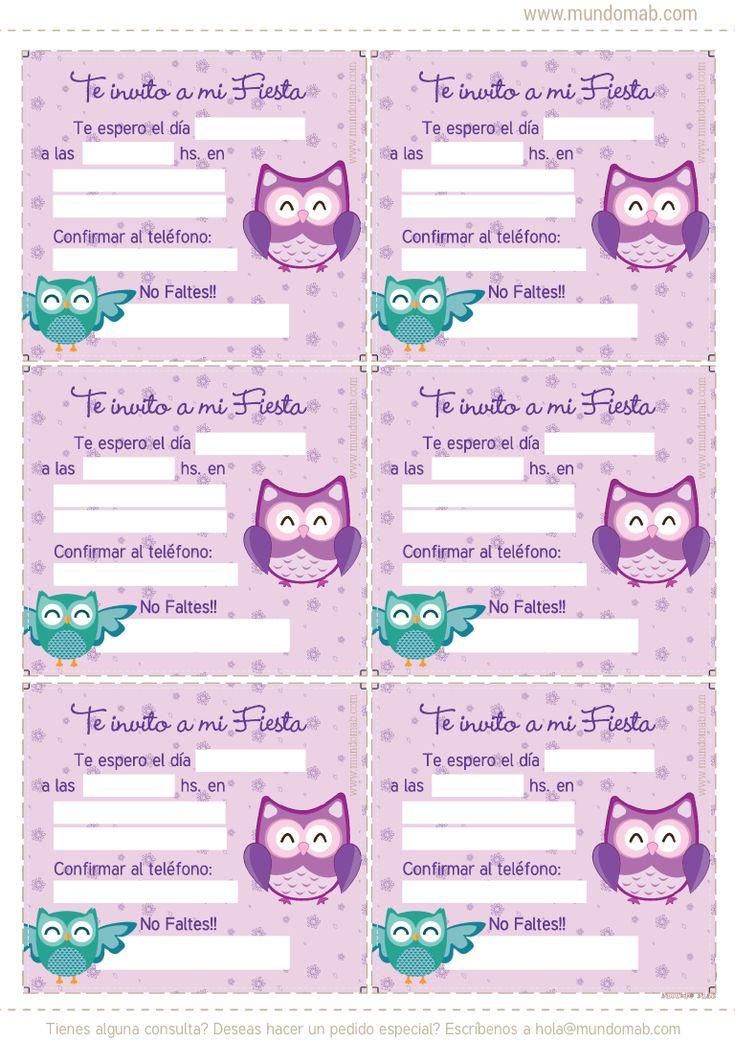 Buhos y lechuzas: Kit de cumpleaños para imprimir en tu casa. Tarjetas, cotillón, etiquetas para candy bar y mucho más. Descarga gratis.