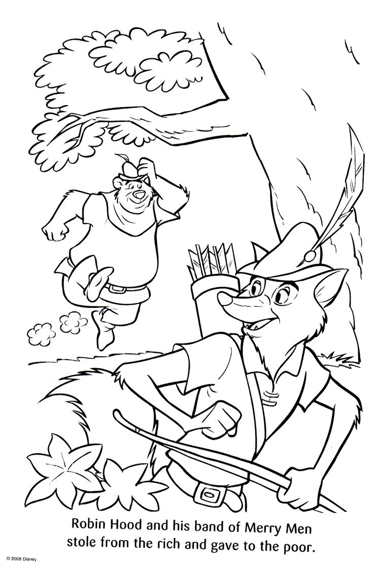 Colouring pages robin hood - Robin Hood Disney Coloring Pages