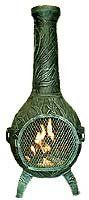Blue Rooster - ALCH046-AG - Orchid Cast Aluminum Chiminea - Antique Green - Large by Blue Rooster. $429.95. Decorative Removable Rain Lid. Detailed Orchid Flower and Leaf Design. Safe Single Opening Traditional Chiminea. Non-Rusting Solid Cast Aluminum Alloy. Image May Vary - Please See Product Title for Actual Size and Color!. Detailed Orchid design goes with your garden. This full size outdoor chiminea makes a great centerpiece for entertaining friends and family.The Blu...