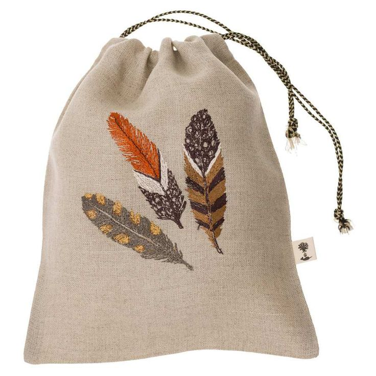 "Our brown feather group is now featured on a gift bag!  The Feathers gift bag is a creative way to wrap your next gift! Pairs perfectly with the crossed arrows wine bag. Embroidered on 100% natural linen. Measures 6.5"" x 8""."