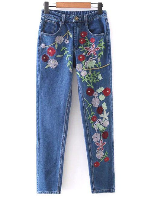 $21.99 Floral Embroidered Tapered Jeans - DENIM BLUE S