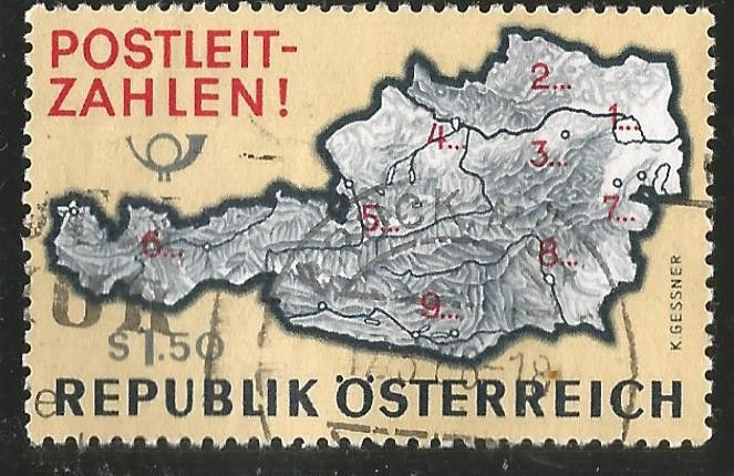Austria.1966.Introduction of Postal Code System. Postal Code Map