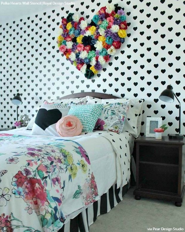 Modern Girls Room Decor Heart Wallpaper Wall Stencils - Royal Design Studio