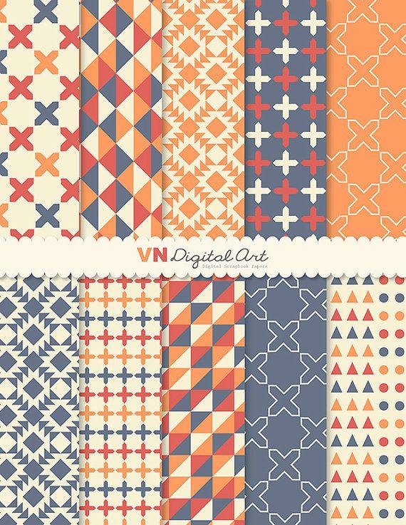 "Digital Paper, Instant Download, Geometric Digital Paper Pack (8.5x11"") -- 10 Digital papers -- 532"