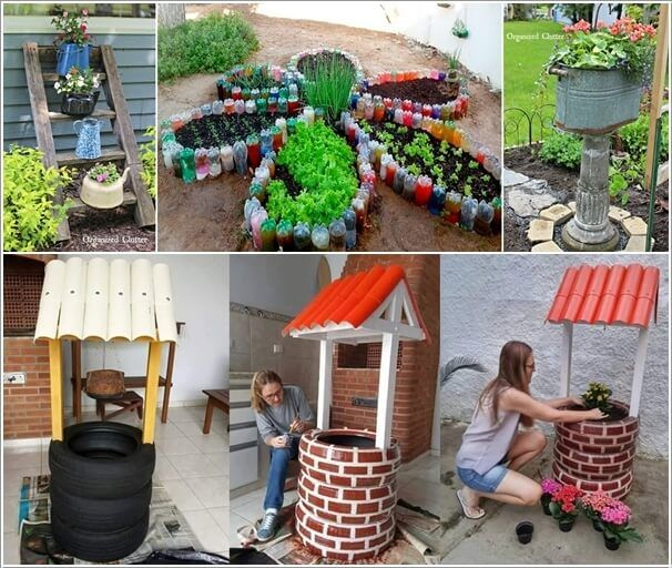 17 best images about outdoor garden on pinterest for Garden ornaments from recycled materials
