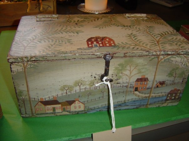 Rebekah L. Smith painted box in style of Rufus Porter, http://rebekahlsmith.blogspot.com/