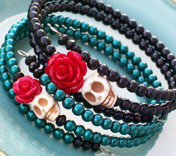Sugar Skull Bracelet Set Memory Wire Bracelets. $22.00, via Etsy.