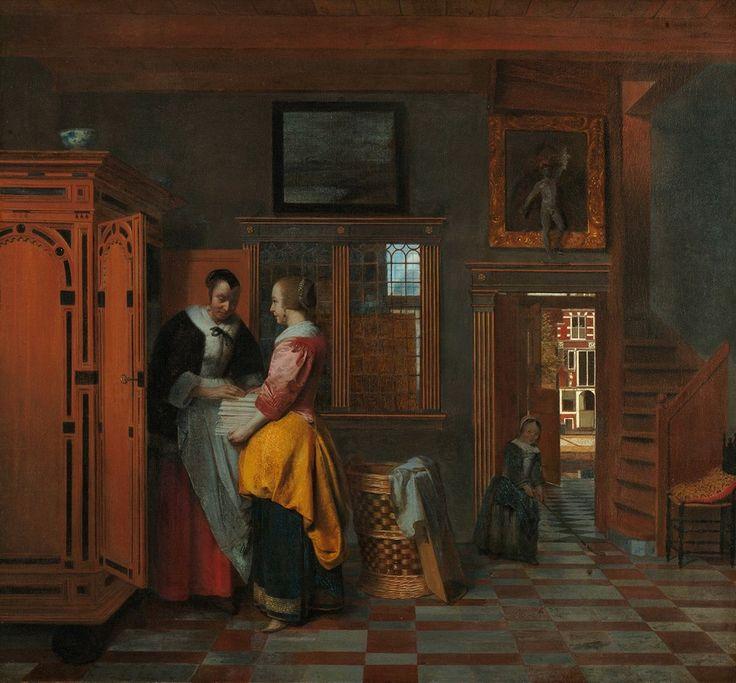 Pieter de Hooch, L'armadio delle lenzuola (At the Linen Closet), 1663, Rijksmuseum Amsterdam, olio su tela, 70 x 70,5 cm #housework