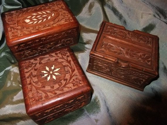 Set of 3 Mid Century  Hand Carved Camphor Wood by ThriftyMidge