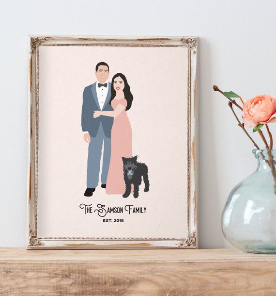 This fun couple portrait features a custom illustration of you, and your pets if you wish to include them! This makes a great valentines day gift, newlywed gift, or anniversary gift.  See more here: https://www.etsy.com/listing/229256649/couple-portrait-with-pets-illustrated?ref=shop_home_feat_4