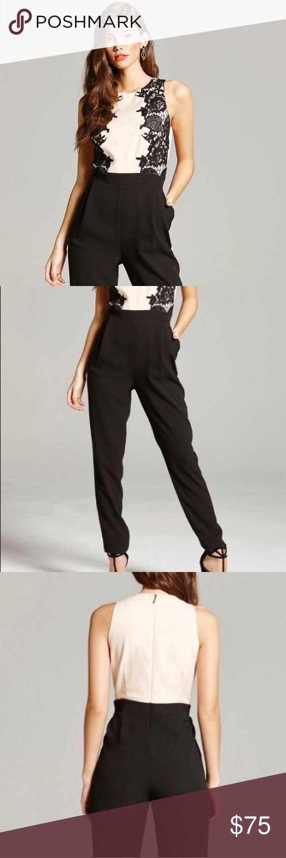 NWT Little Mistress Lace Jumpsuit UK Brand also sold at ASOS. Beautiful lace overlay. This was UK sizing in an 8, but it should fit a 6 as UK sizes are smaller than American sizes. ASOS Pants Jumpsuits & Rompers