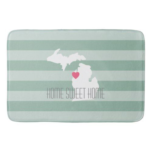 Michigan State Map with Custom Love Heart and Name Bath Mat