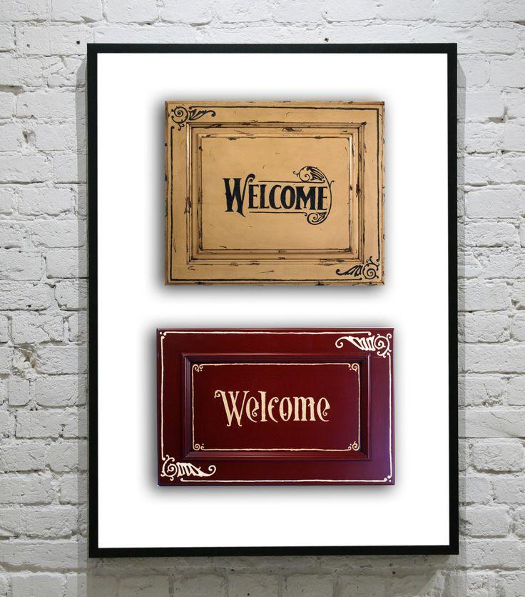 sale cabinet door welcome signs via etsy